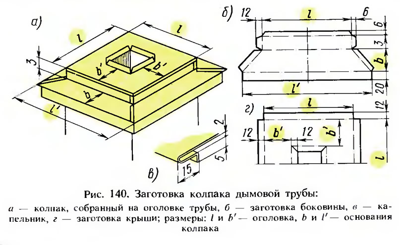 Рис. 140. Заготовка колпака дымовой трубы