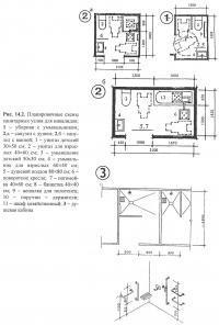 Рис. 14.2. Планировочные схемы санитарных узлов для инвалидов