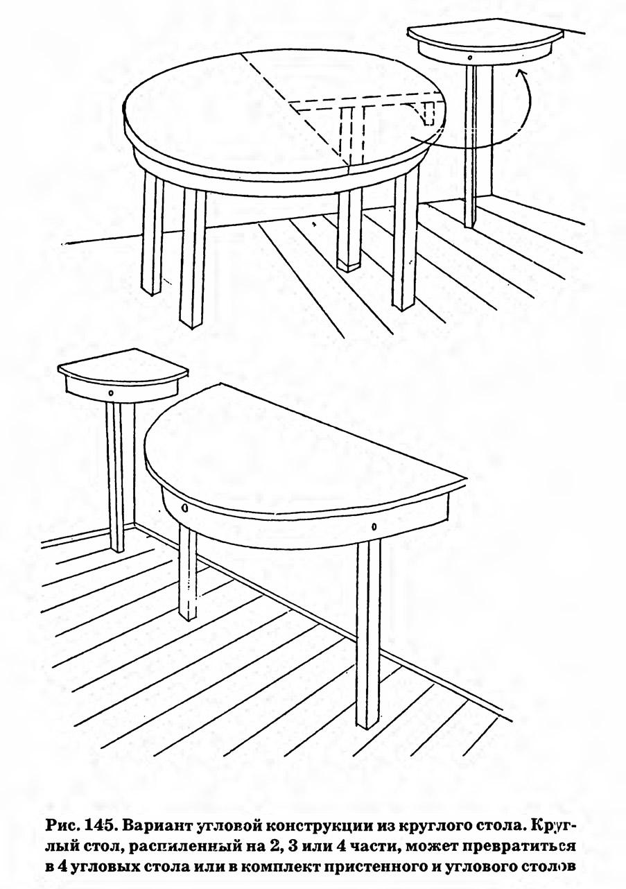 Рис. 145. Вариант угловой конструкции из круглого стола