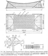 Рис. 146. Деревянная висячая решетчатая оболочка покрытия общественного здания