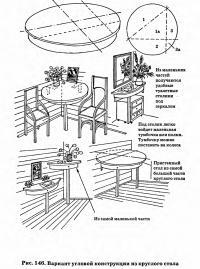 Рис. 146. Вариант угловой конструкции из круглого стола