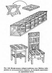 Рис. 148. Шкаф-скамья, табурет-тумбочка, стул