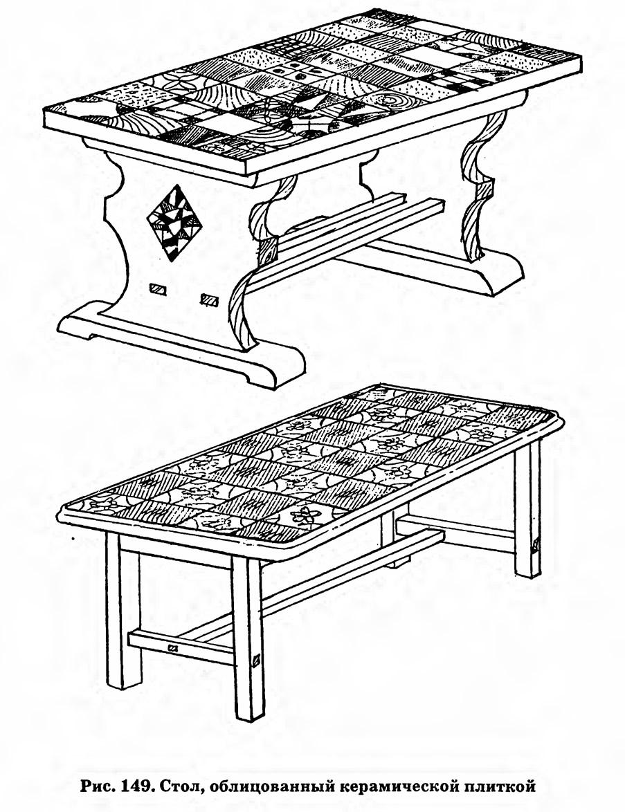 Рис. 149. Стол, облицованный керамической плиткой