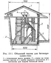 Рис. 15-1. Объемный тепляк для бетонирования стен