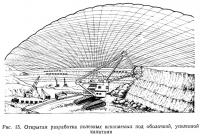 Рис. 15. Открытая разработка полезных ископаемых под оболочкой, усиленной канатами