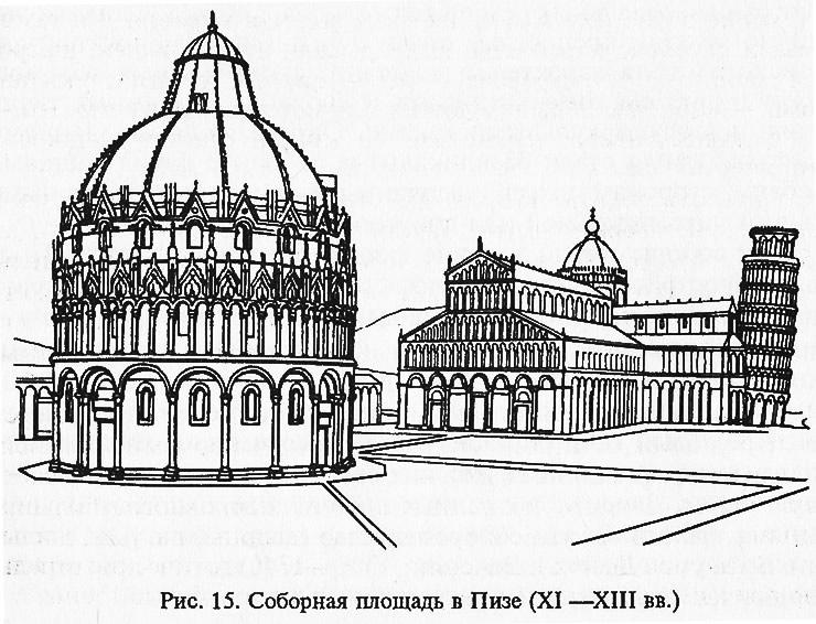 Рис. 15. Соборная площадь в Пизе