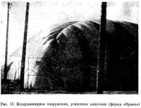 Рис. 15. Воздухоопорное сооружение, усиленное канатами