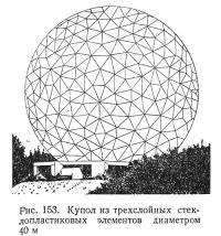 Рис. 153. Купол из трехслойных стеклопластиковых элементов диаметром 40 м
