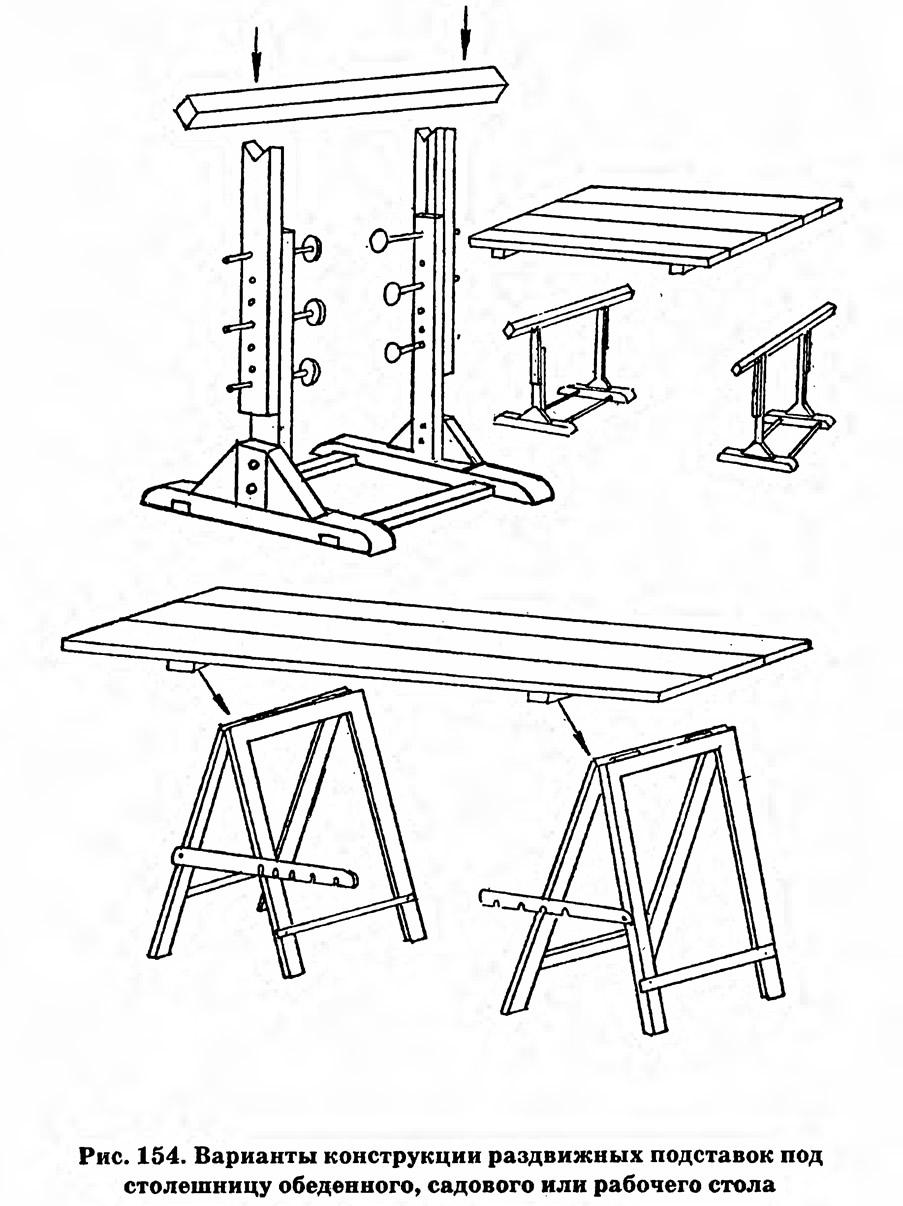 Рис. 154. Варианты конструкции раздвижных подставок под столешницу