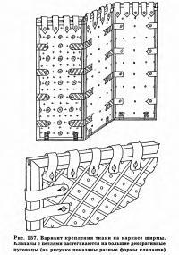 Рис. 157. Вариант крепления ткани на каркасе ширмы