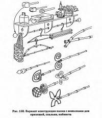 Рис. 158. Вариант конструкции полки с вешалками
