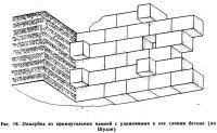 Рис. 16. Опалубка из прямоугольных камней с уложенными в нее слоями бетона