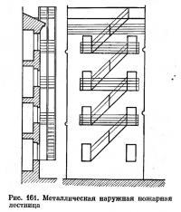 Рис. 161. Металлическая наружная пожарная лестница