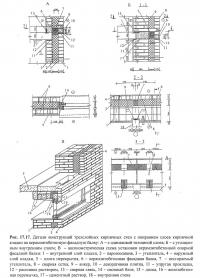 Рис. 17.17. Детали конструкций трехслойных кирпичных стен