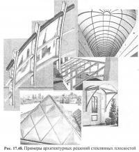 Рис. 17.48. Примеры архитектурных решений стеклянных плоскостей