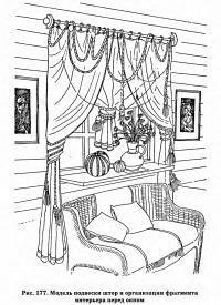 Рис. 177. Модель подвески штор и организации фрагмента интерьера перед окном