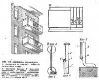 Рис. 179. Балконное ограждение с экранами из плоских асбестоцементных плит