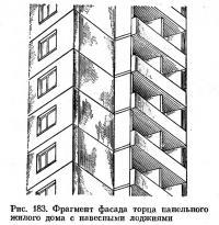 Рис. 183. Фрагмент фасада торца панельного жилого дома с навесными лоджиями
