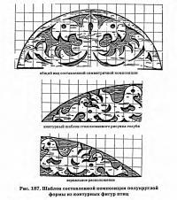 Рис. 187. Шаблон композиции полукруглой формы из контурных фигур птиц