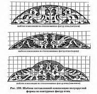 Рис. 189. Шаблон композиции полукруглой формы из контурных фигур птиц