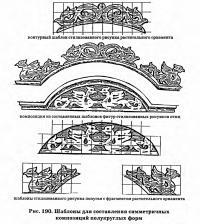 Рис. 190. Шаблоны для составления симметричных композиций полукруглых форм