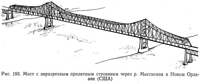 Рис. 193. Мост с неразрезным пролетным строением через р. Миссисипи в Новом Орлеане (США)