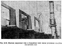 Рис. 2-19. Монтаж наружных стен и балконных плит после установки опалубки