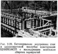 Рис. 2-20. Бетонирование внутренних стен в крупнощитовой опалубке конструкции ЦНИИОМТП
