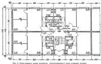 Рис. 2. План первого этажа опытного трехсекционного дома