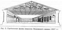 Рис. 2. Стропильные фермы покрытия Московского манежа (1817 г.)