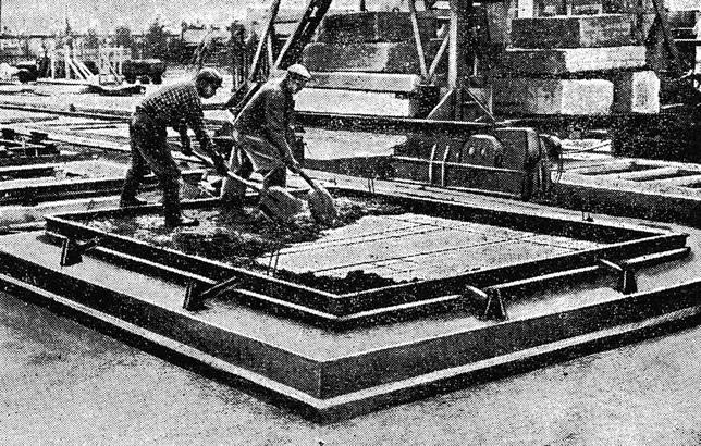 Рис. 20. Устройство бетонного слоя по керамической ковровой плитке в наружной панели