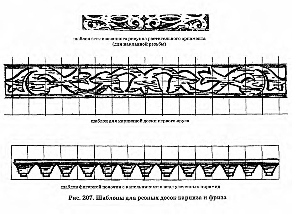 Рис. 207. Шаблоны для резных досок карниза и фриза