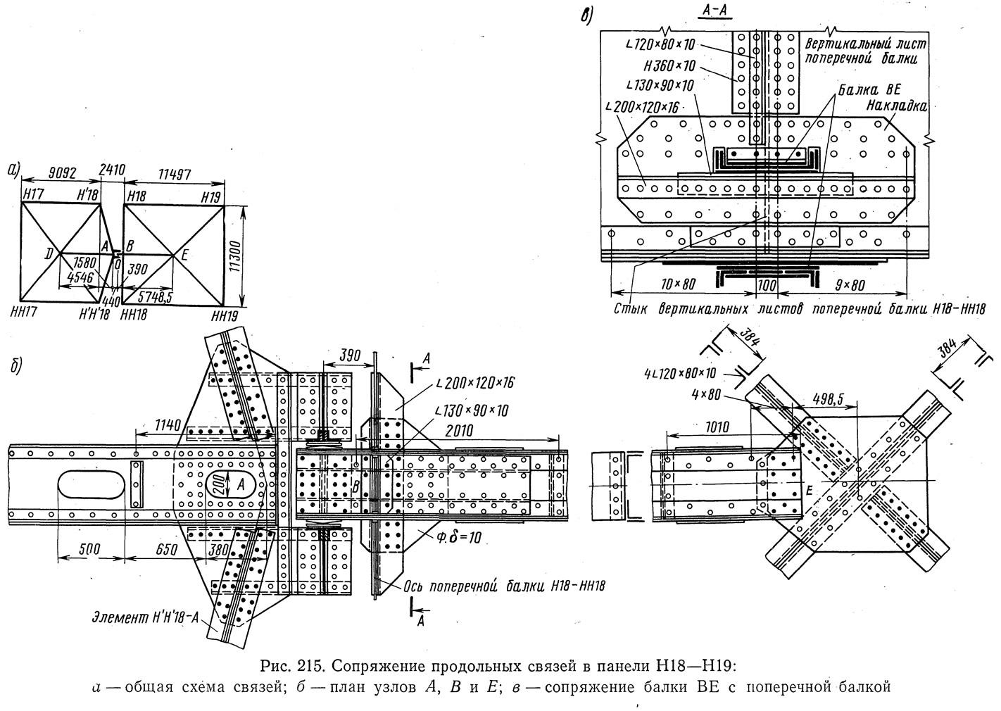 Рис. 215. Сопряжение продольных связей в панели Н18-Н19