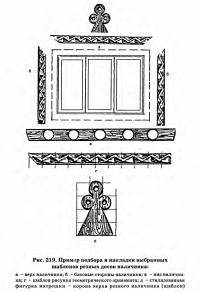 Рис. 219. Пример подбора и накладки выбранных шаблонов резных досок наличника