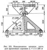 Рис. 221. Неподвижная опорная часть для пролетного строения L=2х220 м