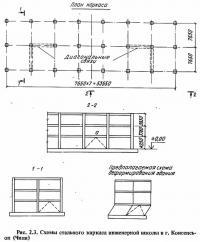 Рис. 2.3. Схемы стального каркаса инженерной школы в г. Консепсьон (Чили)