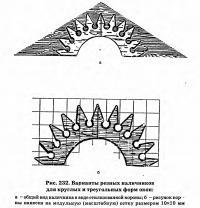 Рис. 232. Варианты резных наличников для круглых и треугольных форм окон