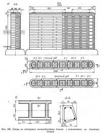 Рис. 235. Опора из контурных железобетонных блоков с заполнением из бетонных блоков