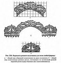 Рис. 235. Варианты резного наличника для окон любой формы