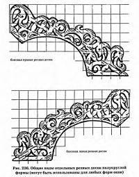 Рис. 236. Общие виды отдельных резных досок полукруглой формы