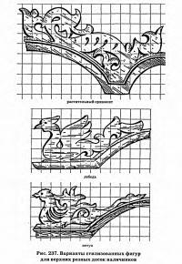 Рис. 237. Варианты стилизованных фигур для верхних резных досок наличников