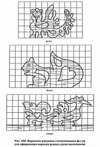 Рис. 238. Варианты рисунков стилизованных фг/гур для оформления верхних резных досок