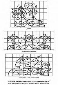 Рис. 239. Варианты рисунков стилизованных фигур для оформления верхних резных досок