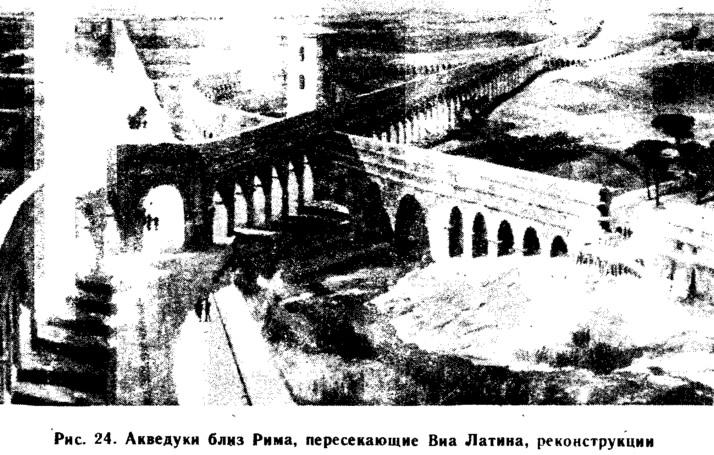 Рис. 24. Акведуки близ Рима, пересекающие Виа Латина, реконструкции