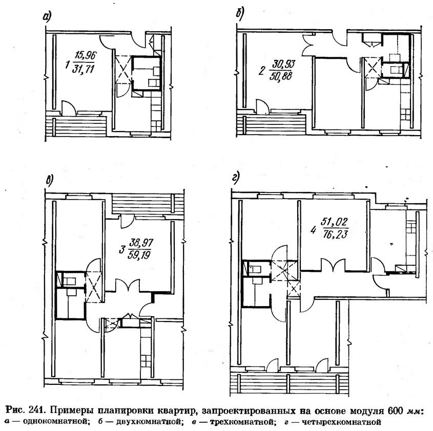 Рис. 241. Примеры планировки квартир на основе модуля 600 мм