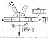 Рис. 248. Конструкция узла фермы с герметически закрытыми коробчатыми элементами