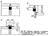 Рис. 257. Примеры прививки к модульным осям наружных стен каркасных зданий
