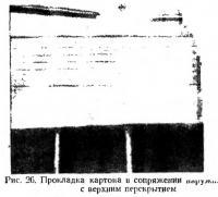 Рис. 26. Прокладка картона в сопряжении с верхним перекрытием