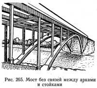 Рис. 265. Мост без связей между арками и стойками