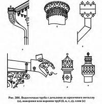Рис. 266. Водосточная труба с деталями из просечного металла